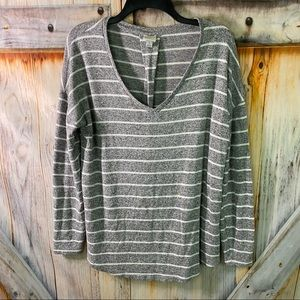 ET A New Day Stretchy Stripes Long Sleeve Top Large Gray White